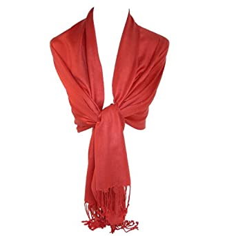 Women's Pashmina Shawl Wraps (Rust)