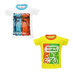 Orange and Orchid Boys Casual Printed Cotton Round Neck Half Sleeves T-Shirt - Pack of 2