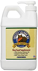 Grizzly Salmon Oil All-Natural Dog Food Supplement in Pump-Bottle Dispenser, 64 Ounces