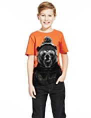 Pure Cotton Bear Hat T-Shirt