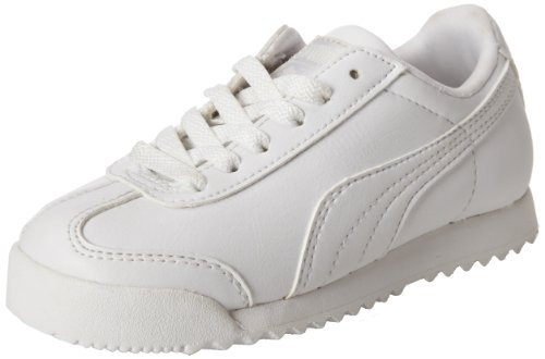 PUMA Roma Basic Kids Sneaker (Toddler/Little Kid/Big Kid) , White/Light Gray, 10 M US Toddler