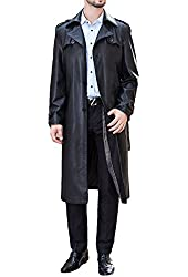 Men's business suit collar Long Trench Coat Casual Long PU leather jacket