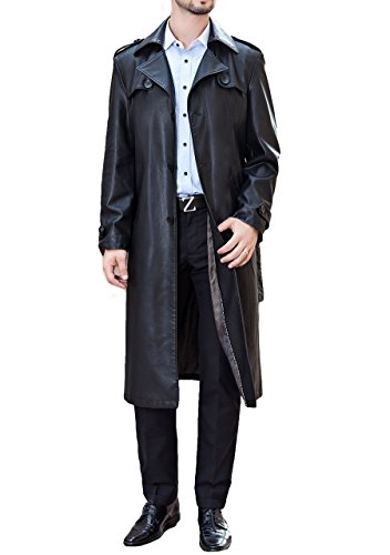 "Men's business suit collar Long Trench Coat Casual Long leather jacket (US L / Bust: 48.8 "")"