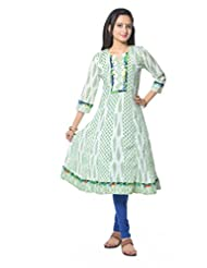 White Base With Green Booti Print Anarkali Kurti - B00LLBO7TM
