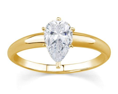 1/3 ct. Pear Diamond Solitaire Ring in 14k Yellow Gold
