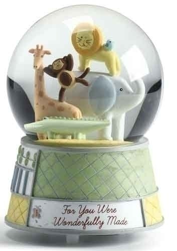Wonderfully Made Wind Up Musical Music Baby Zoo Animals Nursery 5.5″ Snow Globe Glitterdome Water Globe Plays Brahms Lullaby