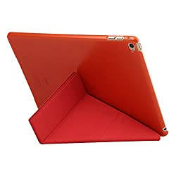 BASEUS Pasen Thin Luxury Smart Slim Leather Magnet Flip Y Fold Cover Case with Stand For iPad Air 2 (iPad 6) - RED