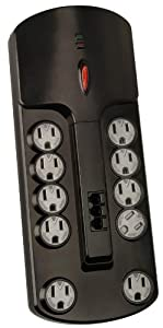 Coleman Cable 04926 10-Outlet Computer Surge Protector with 4-Feet Cord