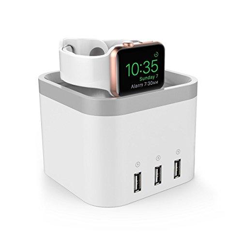 NexGadget 4ポート USB Apple Watch & iPhone用スタンド 2in1充電スタンド 3.0ハブデスクトップスマート 充電ステーション 充電ドック 充電スタンド 自動検出 iPad / Iphone 充電スタンドApple watch 38mm / 42mm Iphone 6 plus / Iphone 6s plus / Iphone 6 /Iphone 6s / Iphone 5s xperia z3/nexus5 docomo対応(ブラック)