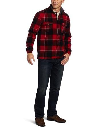 IZOD Men's Plaid Full Zip Jacket, Red Barn, Medium