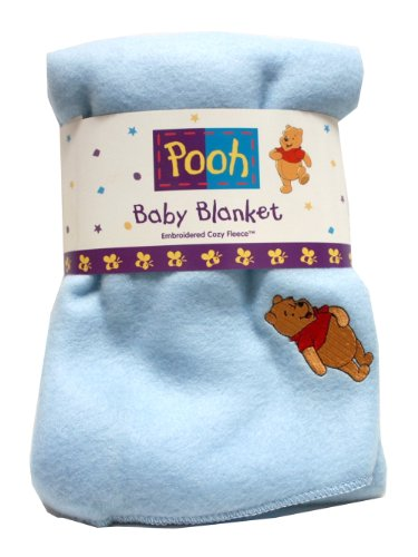Disney Pooh Fleece Baby Blanket Throw with Embroidery