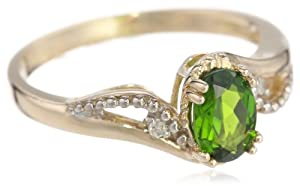 10k Yellow Gold Chrome Diopside and Diamond Curved Split Shank Ring, Size 7