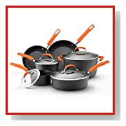 Rachael Ray Hard Anodized II Nonstick Dishwasher Safe 10-Piece Cookware Set, Orange
