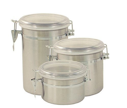 Cook Pro 693 3-Piece Stainless Steel Canister Set (Metal Sealed Container compare prices)