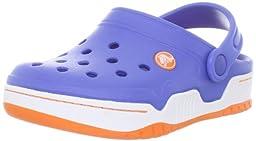 crocs 14301 Front Court K Clog (Toddler/Little kid),Sea Blue/Orange,8 M US Toddler