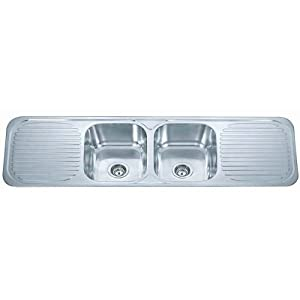 Stainless Steel Inset Kitchen Sink 2.0 Bowl With Double Drainer & Waste Kit (F01 mr) Polished Finish