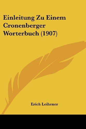 Einleitung Zu Einem Cronenberger Worterbuch (1907)