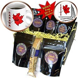 SmudgeArt Canada Art Designs - Canada - Maple Leaf - Hearts - Coffee Gift Baskets - Coffee Gift Basket