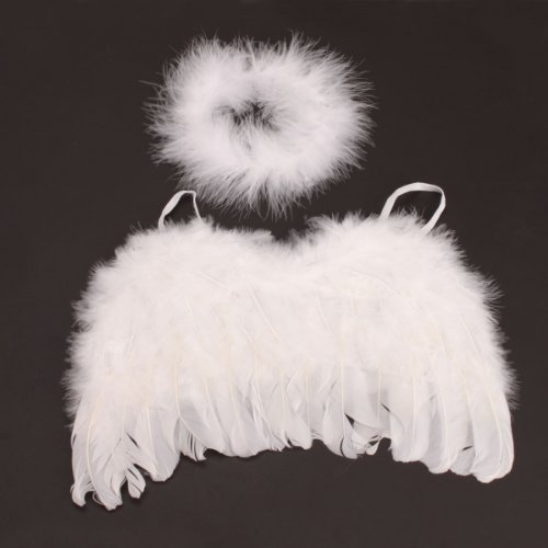Baby Infant 0-6mo White Angel Feather Wings + halo