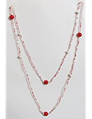 Fire And Ice - Red And White Bead Necklace With Earrings - Acrylic Bead