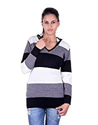 eWools Women's Woolen Sweater (Miss18-424_Black Grey White_Large)