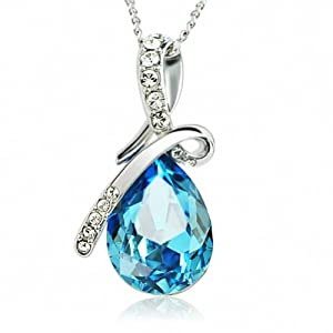 Eternal Love Blue Teardrop Swarovski Elements Crystal Pendant 18k White Gold Plated Necklace for Women Lady 21 Inch