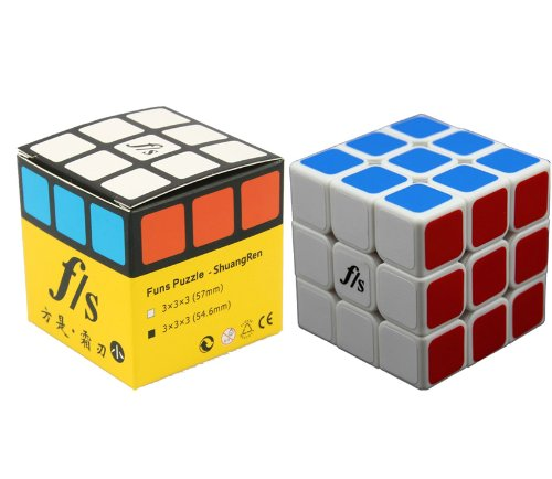 New , 5.46cm Smaller Sized Fangshi (Funs) Shuang Ren 3x3 White Speed Cube Puzzle 3x3x3