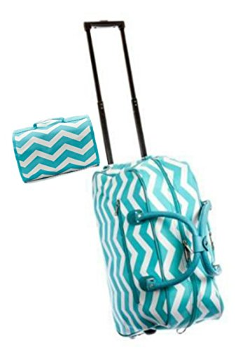 carry-on-rolling-duffel-travel-set-21-chevron-zig-zag-design-and-cosmetic-bag