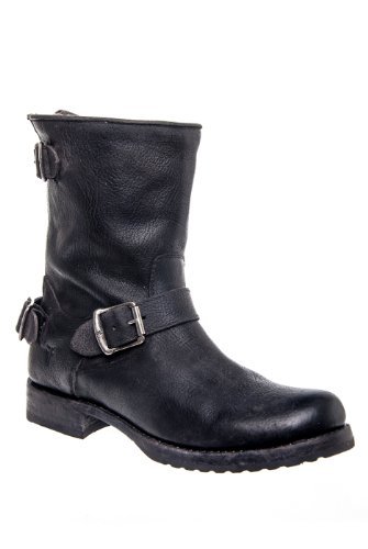 Frye Veronica Back Zip Short Low Heel Moto Mid Calf Boot
