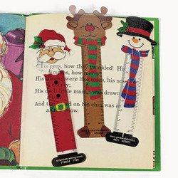 24 CHRISTMAS Character BOOKMARKS/Santa/SNOWMAN/Reindeer/PARTY FAVORS/HOLIDAY Stocking Stuffers/2 dozen/5.25""