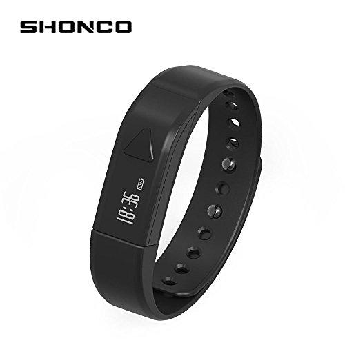 Fitness Tracker Wireless Activity Wristband, SHONCO I5 OLED Bluetooth Touch Screen Smart braccialetto con pedometro passo Tracking salute monitoraggio sonno, per iPhone 5S/5 C IOS7.0 o Superiore e Android 4.3 Sopra per, colore: Nero