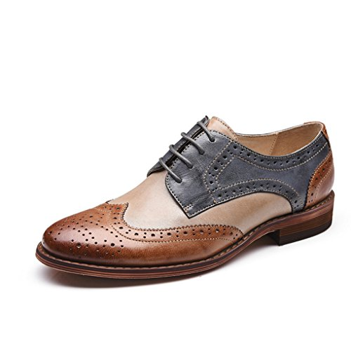 U-lite Brown Blue Perforated Brogue Wingtip Leather Flat Oxfords Vintage oxford shoes Womens BB 10