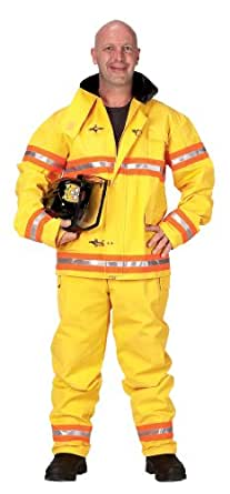 Get Real Gear Yellow Firefighter Suit with Helmet, Size Adult Small