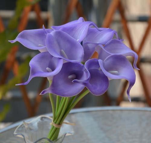4th anniversary: Purple Calla Lily Silk Flowers Bouquet