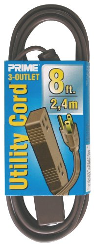 Prime Wire & Cable Ec850608 8-Foot 16/3 Spt-2 3-Outlet Utility Indoor Cord, Brown