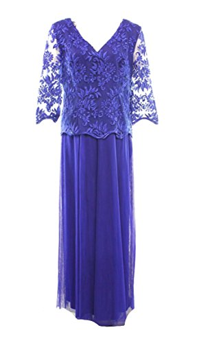 Alex Evenings Women's Floral Lace Popover Ball Gown Dress Blue 14