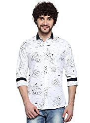 D'INDIAN CLUB Men's White Beach Printed Carbon Peached Cotton Casual Shirt
