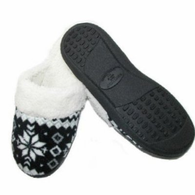 Cheap Isotoner Womens Black Snowflake Clog Slippers Clogs (081712-66)
