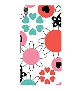 ANIMATED FLOWERS AND BUTTERFLIES PATTERN ON A WHITE BACKGROUND 3D Hard Polycarbonate Designer Back Case Cover for Sony Xperia C6