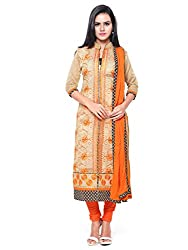 Kanchnar Women's Beige and Orange Chanderi Cotton Embroidered Casual Wear Dress Material,Navratri Festival Clothing Diwali Gift,Great Indian Sale