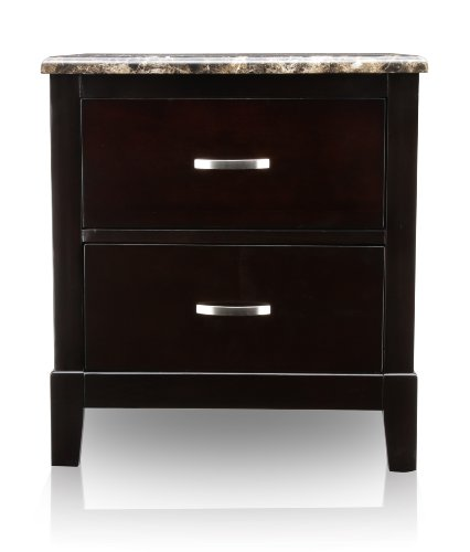 Furniture Of America Burtum Modern 2-Drawer Nightstand, Dark Cherry Finish