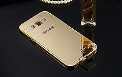 Premium Luxury Metal Bumper Acrylic Mirror Back Cover Case For Samsung Galaxy J2(GOLD)