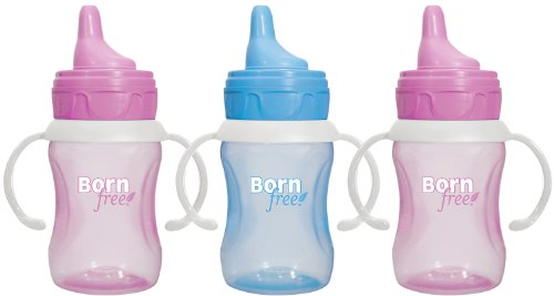 Born Free 7 Ounce Training Cup, 3 Pack - Pink/Blue/Pink front-780333