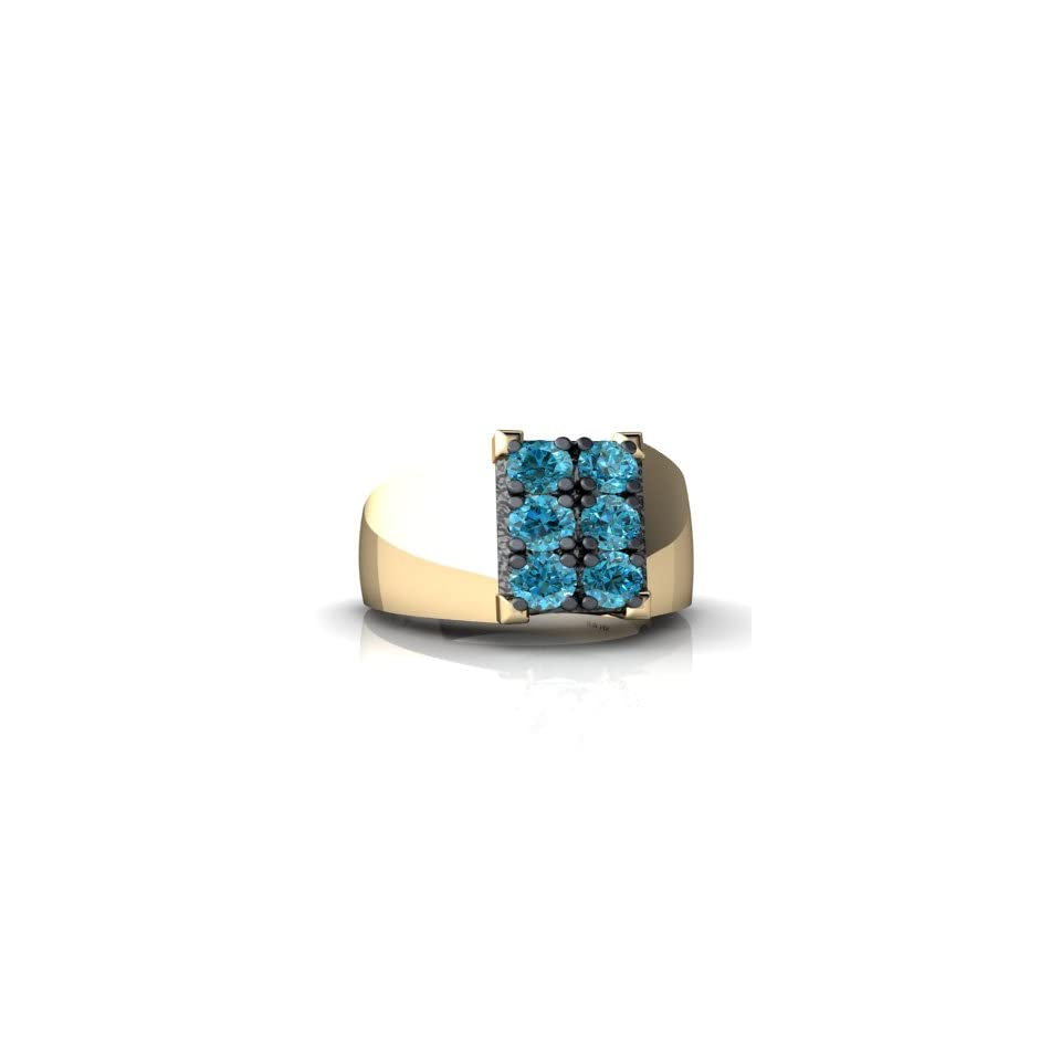 14K Yellow Gold Blue Diamond Mens Mens Ring Size 10 Jewelry