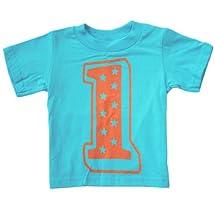 Happy Family 1st Superstar First Birthday Kids T Shirt (2T, Aqua Blue)
