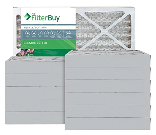 AFB Platinum MERV 13 14x30x4 Pleated AC Furnace Air Filter. Pack of 12 Filters. 100% produced in the USA.
