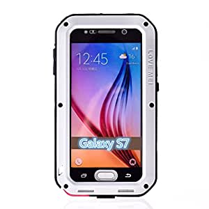 Galaxy S7 Case,CSTM-4-layer Protection Cover Case for Galaxy S7,5 Colors Corning Gorilla Glass Aluminum Metal Protective Case for Samsung Galaxy S7 (Water/dirt/shock Proof) (White)