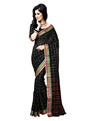 AASRI Women Festival Wear Cotton Blend Printed Zari Border Multicolour Saree - B00O8XVVM6