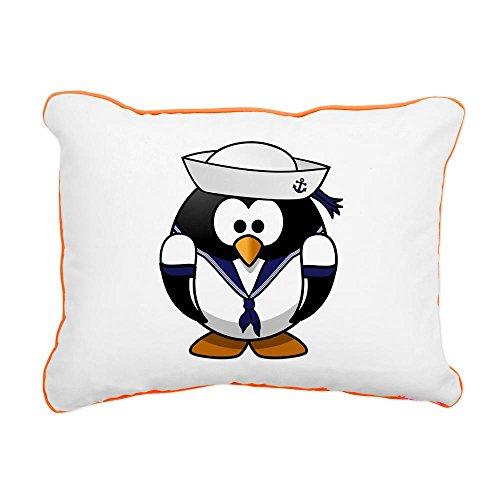 Rectangular Canvas Throw Pillow Orange Little Round Penguin - Navy Sailor