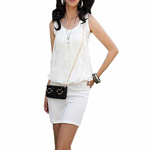 Vida Ideal-De las mujeres calientes del verano Mini Vestido De Cuello Redondo De la Gasa sin Mangas Casuales Sundres Túnica (ES 34 (Taille Tag S), Blanco)